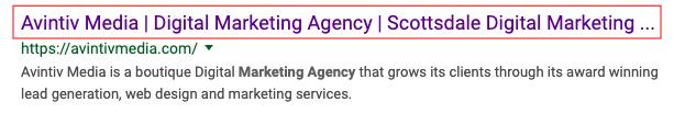 on-page SEO, Scottsdale SEO Agency, Avintiv Media, Title Tag, Meta Title