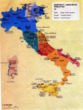 Photo: Cartina che evidenzia i sostrati linguistici pre-latini: Galli, Etruschi,  Reti, Veneti, Osci, Umbri, Greci, Sabini, Paleosardi, Fenici e altri