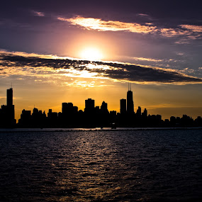 Chicago Skyline by Toni Geib - Landscapes Sunsets & Sunrises ( clouds, chicago skyline, water, navy pier, chicago cubs, sunset, lake, chicago, city skyline )