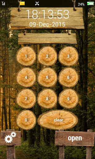 lock screen wood jungle keypad