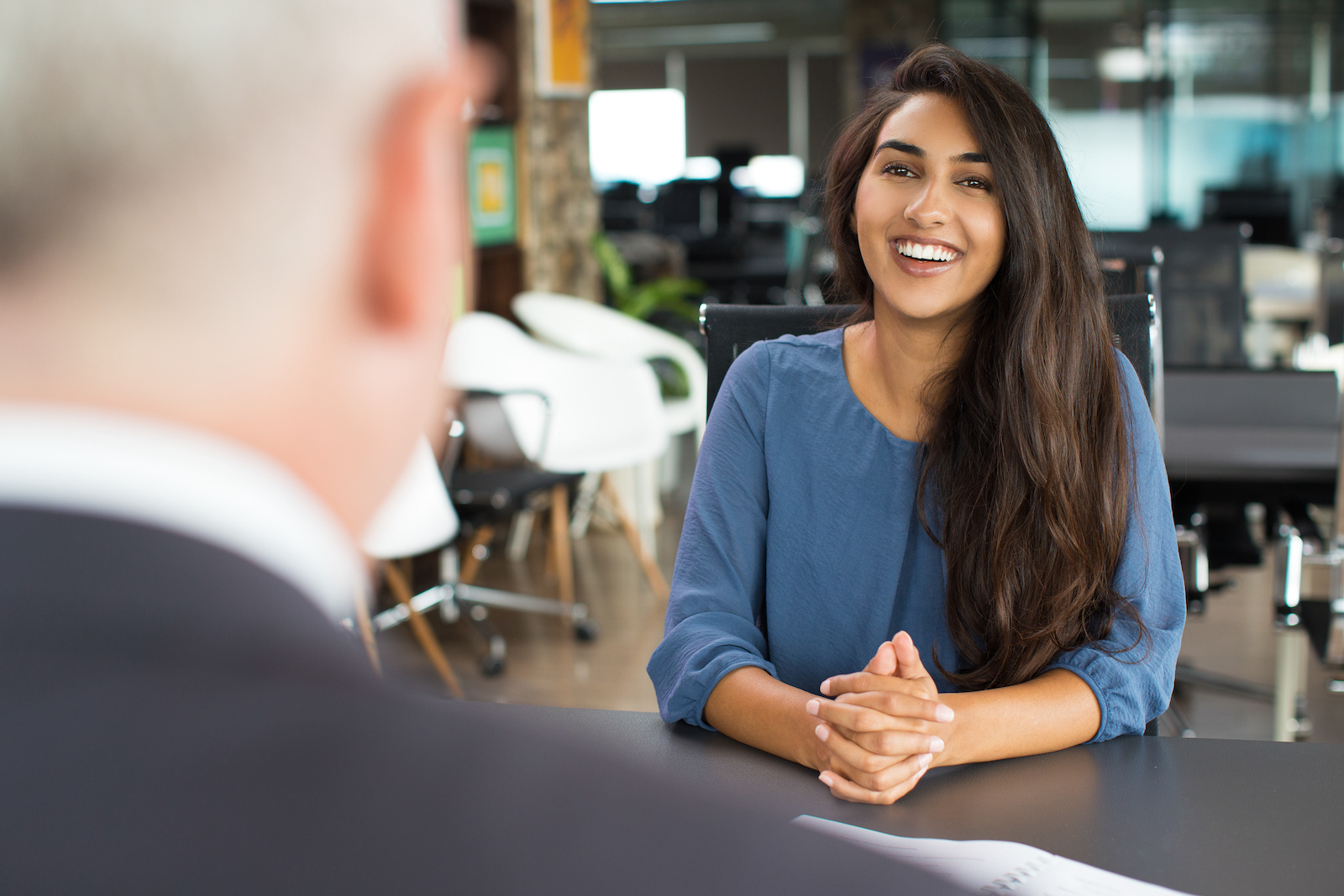 Intuit internship: woman smiling during an interview