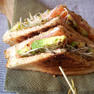 Chic Club Sandwich with Smoked Salmon and Avocado.