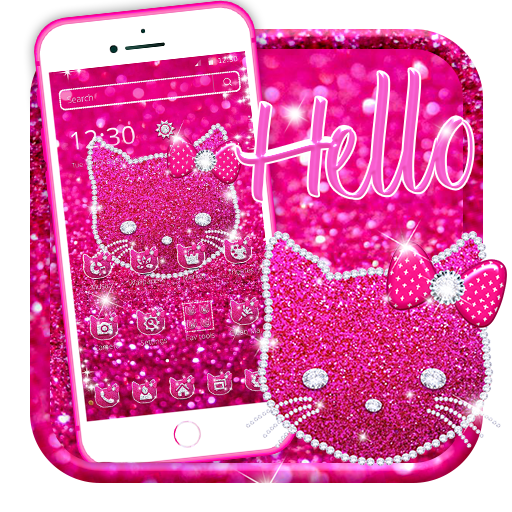 Pink Diamond Kitty Glitter Theme Android APK Download Free By Arts Themes Launcher