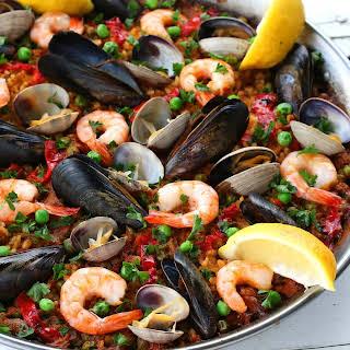 Seafood Paella (Paella de Marisco).