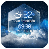Amber Shield Clock Widget