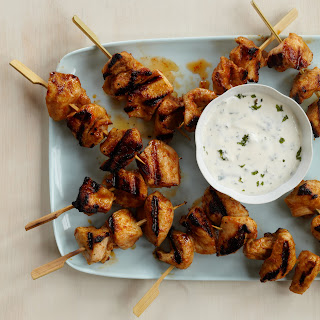 Red Curry Chicken Kebabs with Minty Yogurt Sauce.
