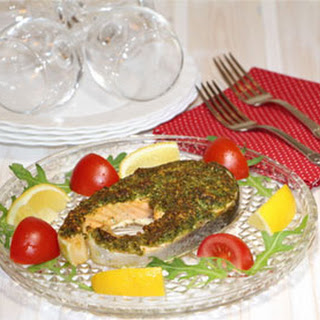 Parmesan Arugula Crusted Baked Trout