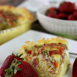 Breakfast Pie with Hashbrown Crust.