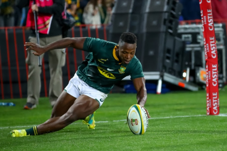 S'busiso Nkosi of South Africa scores during the 2018 Castle Lager Incoming Series match between South Africa and England at Emirates Airline Park on June 09, 2018 in Johannesburg, South Africa.