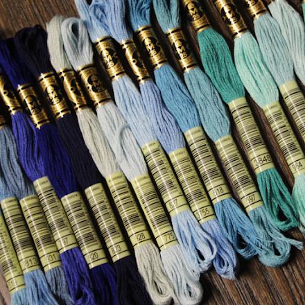 Broderigarn DMC - blå, turkos, mint