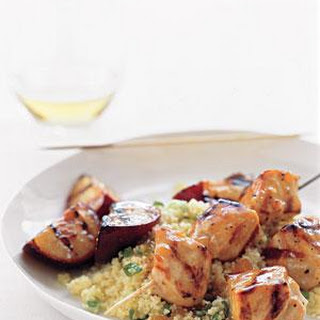 Pork Kebabs With Grilled Plums and Couscous.