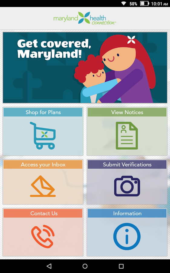 Maryland Health Connection- screenshot