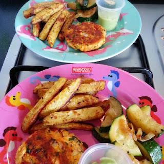 Salmon Cakes with Avocado Yogurt Sauce
