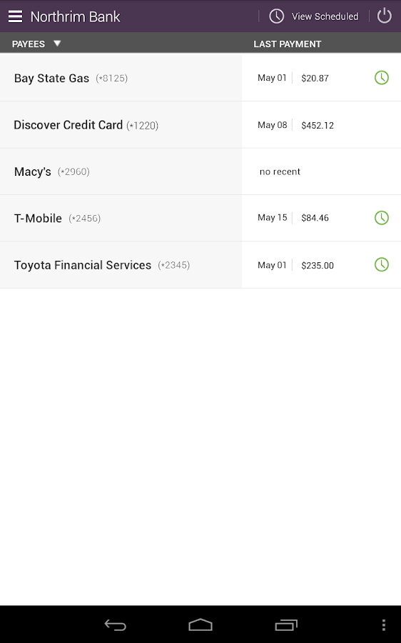 Northrim Bank - Mobile Banking- screenshot