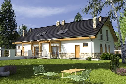 projekt Jarząbek III z garażem 1-st. bliźniak A-BL2