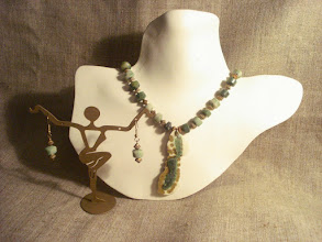 Photo: <BEREHYNYA> {Great Goddess Protectress} unique one-of-a-kind statement jewellery by Luba Bilash ART & ADORNMENT  Clay, moss agate, 14K gold vermeil NFS