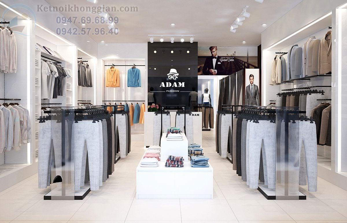 thiết kế shop thời trang nam tính