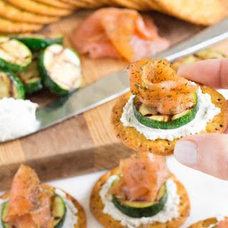 Smoked Salmon, Grilled Zucchini and Dill Goat Cheese Crackers.