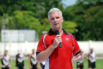 Photo: Vietnam Swans National President, Phil Johns, addresses the crowd prior to the match. Photo, Richard Quinn.
