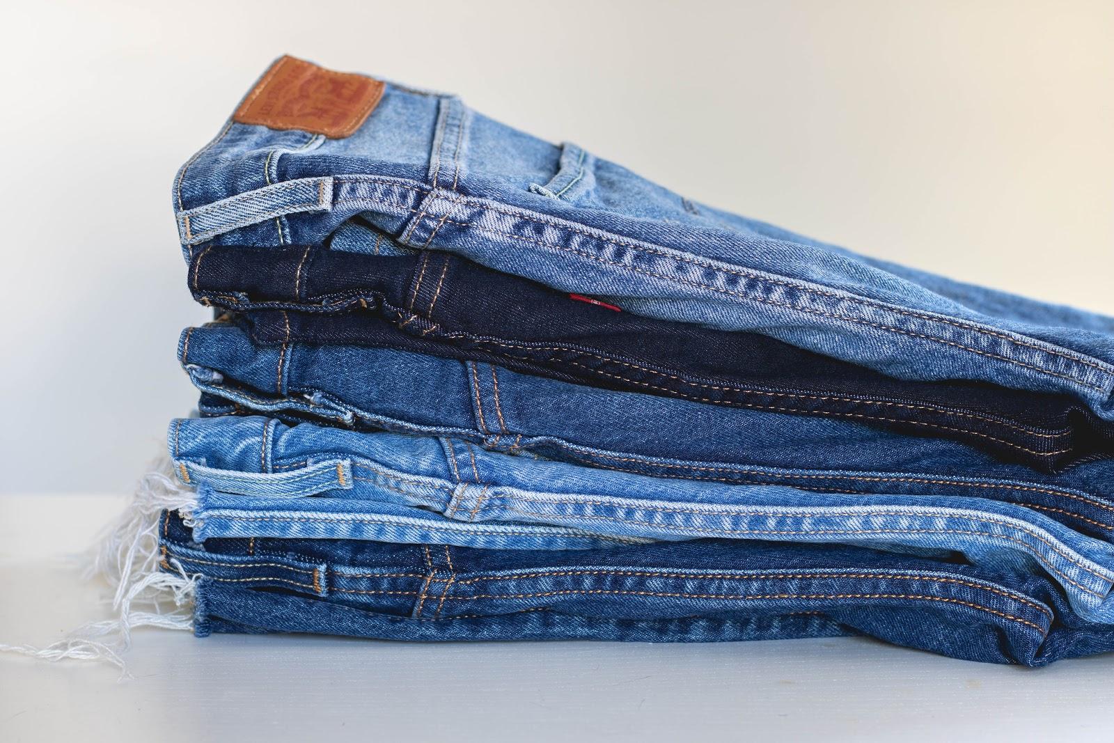 Pantalon en jeans pliés