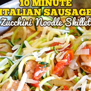 10-Minute Italian Zucchini Noodle Skillet with Sausage.