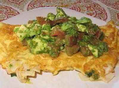 Omelette Topped With Pesto Tomato And Avocado