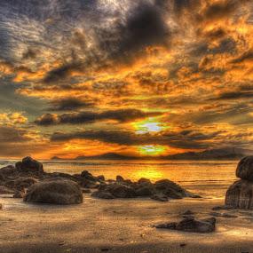 Batu Pinagut Beach by Firmansyah Goma - Landscapes Sunsets & Sunrises ( batu pinagut, bolmut, beach, , golden hour, sunset, sunrise )