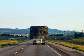 Photo: Following I-90 past Black Hills towns like Sturgis and Spearfish. Monster truck tires, Grant?