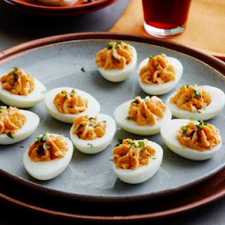 Beet-Pickled Hungarian Deviled Eggs.
