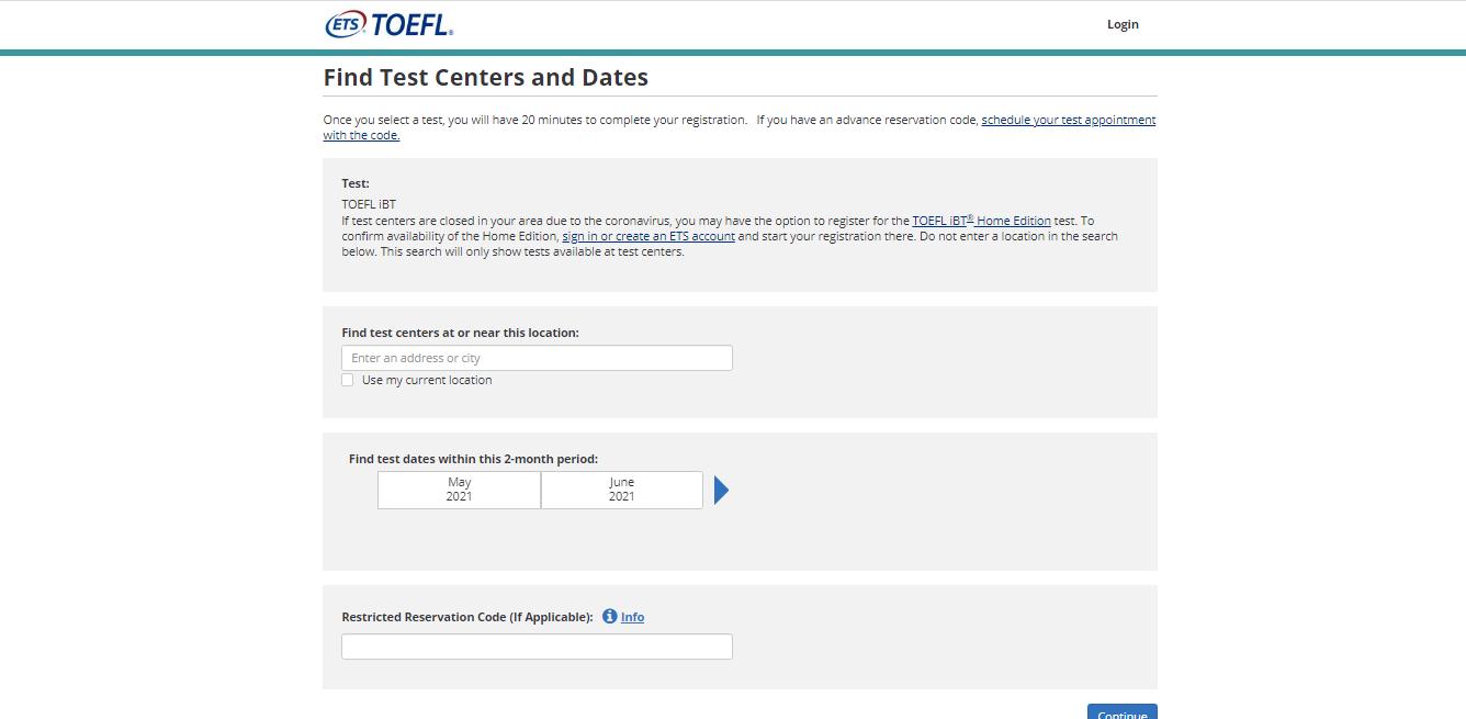 TOEFL Exam Registration Step 2