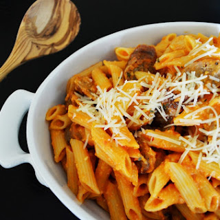 Penne with Fresh Tomato Sauce and Grilled Sausage.