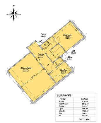 Vente appartement 2 pièces 71,55 m2