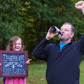 First Day of School! by Vanessa Meyers - Uncategorized All Uncategorized ( school, daddy, funny, daughter, outside,  )