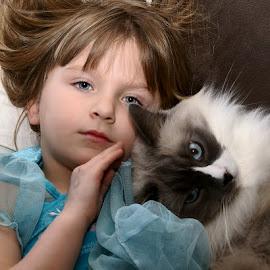 Kitty Love by Luanne Bullard Everden - Babies & Children Children Candids ( love, cats, girls, blue, children )