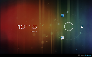Photo: Here are the unlock, browser and Google Talk actions on the lockscreen.