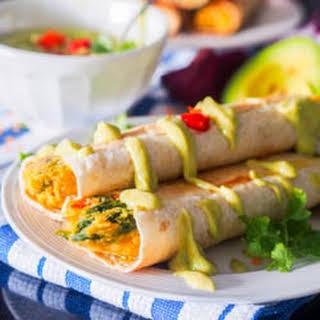 Vegan Taquitos With Avocado Crema.