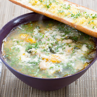 Butternut Squash & Kale Minestrone with Horseradish Gremolata & Parmesan Toast.