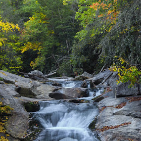 Fall Is On It's Way by Keith-Lisa Bell Bell - Landscapes Waterscapes ( water, colorful, fall, waterfall, rocks )