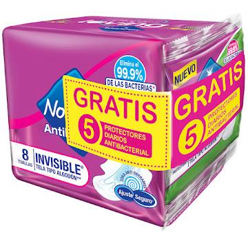 //Oferta Toallas   Nosotras Invisible Antibacterial x 8Und + 5 Protectores Diarios Gratis
