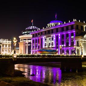 Skopje at night by Darko Nachevski - Buildings & Architecture Other Exteriors ( lights, buildings, skopje, night, bridge, macedonia, river )