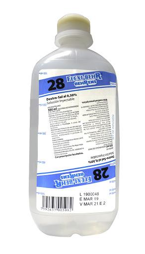 Solución Número 28 Dextro-Sal 0,30% Behrens x 500 ml