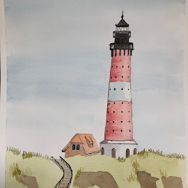 Lighthouse  by Anika McFarland - Painting All Painting ( watercolor, watercolors, lighthouse, landscape, painting )