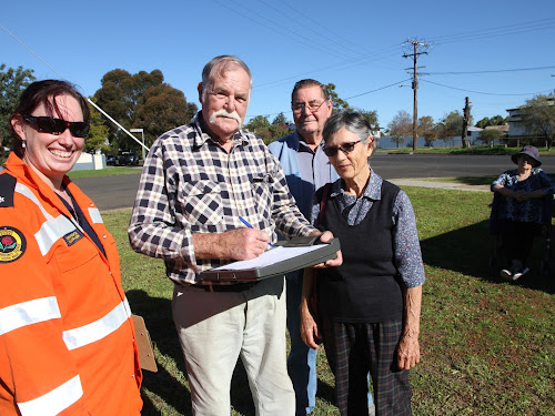 Among the local residents at the Gibbons-Beatrice Street SES flood awareness meeting on Sunday, SES training officer Sarah Rushton and residents Mike Middleton, Ron Branson and Myf O'Regan.