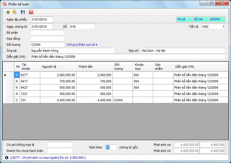 Phiếu kế toán phần mềm kế toán 3tsoft
