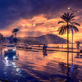 Kuşadası rainy evening by Murat Besbudak - City,  Street & Park  Street Scenes ( rainy, kusadasi, evening, rain )