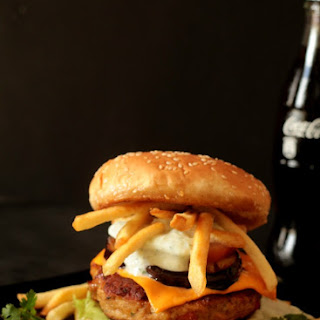 Juicy Chicken Burger with Fried Eggplant