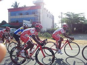 Photo: SKCT sprinter Laxman Kurni biding his time and staying covered in the bunch..