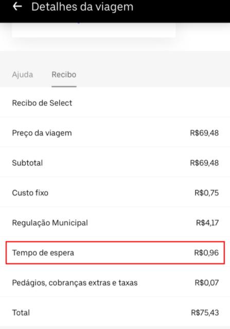 Tela da Uber sobre 'Detalhes da Viagem'. Em destaque o Tempo de espera que custou R$0,96.