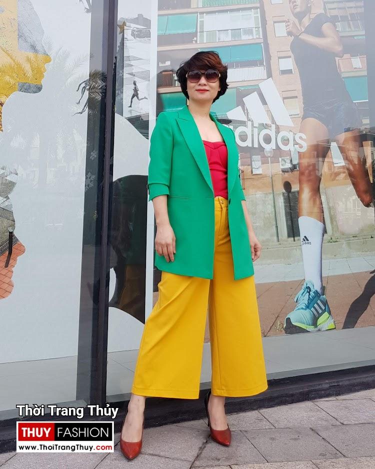 Áo vest nữ dáng suông mix quần culottes áo croptop V696 thời trang thủy nam định