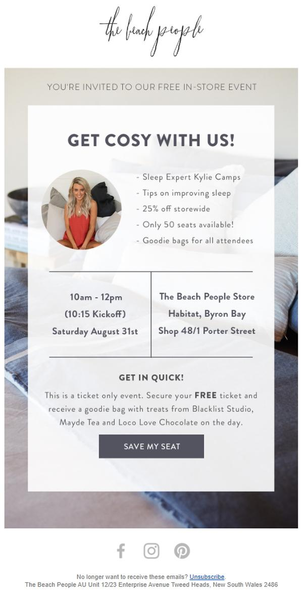 The exclusive event features discounts, freebies, and even a sleep expert with her picture in the email.